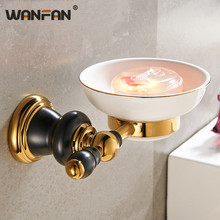 New Luxury golden Solid Brass Wall Mounted Bathroom Accessories Soap Dish Holder Ceramic Base soap rack XL-66803