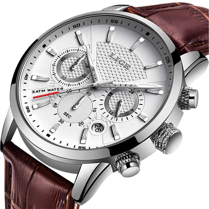 LIGE メンズウォッチトップブランドの高級レザーカジュアルクォーツ腕時計メンズミリタリースポーツ防水時計黒腕時計レロジオ Masculino