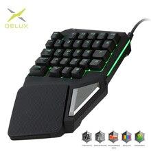 Programowalne klawisze Delux T9 Pro klawiatura jednoręczna klawiatura do gier jedną ręką ergonomiczna klawiatura do gier dla PUBG gun PC Laptop