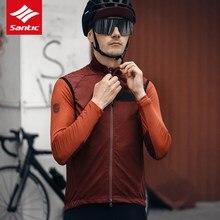 Santic Männer Radfahren Weste Reiten Top Rennrad Winddicht Regendicht Weste Leichte Faltbare Verpackung Reflektierende Atmungsaktive Weste