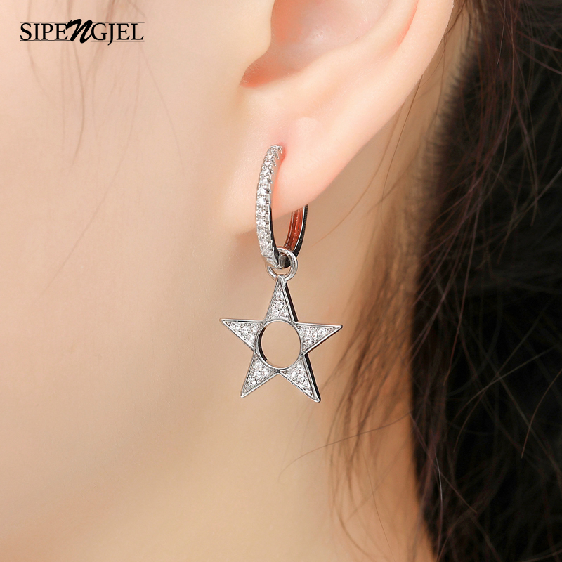 Fashion Pave Cz New Hollow Star Hoop Earrings Top Quality Asymmetric Ladies...