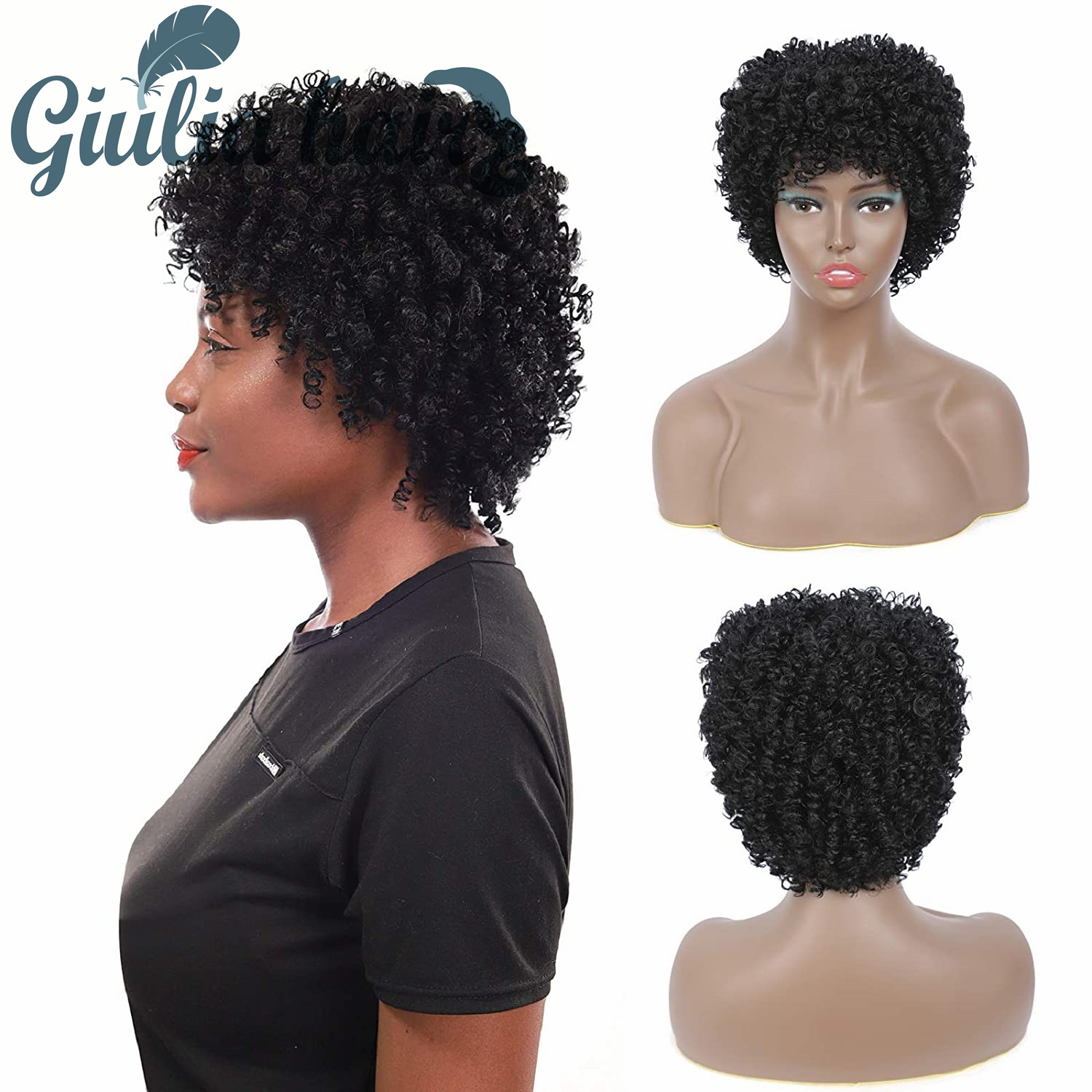 Layered Short Wigs Nature Dream Kinky Curly 98% Human Hair Wigs Cheap Human Hair Wig For Party Dance Cosplay