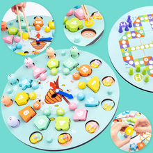 Wooden Toys Clock Beads Multifunctional Early-Education Children's Fishing Chess-Clip