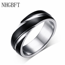 NHGBFT 6mm width black color wedding rings for mens Stainless steel punk style twill ring Dropshipping nhgbft punk style tire spinner chain rings for mens stainless steel black color biker ring male jewelry