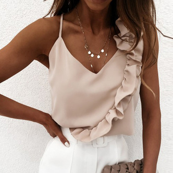 Women Summer Blouse Shirts Sexy V Neck Ruffle Blouses Backless Spaghetti Strap Office Ladies Sleeveless Casual Tops 1