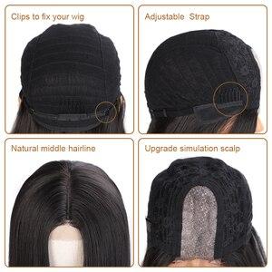 Image 5 - AISI שיער ארוך ישר שחור פאה סינטטי פאות עבור נשים טבעי התיכון חלק תחרת פאה עמיד בחום סיבי למראה טבעי פאה