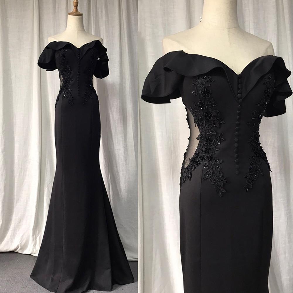 Black Evening Dress Stretch Mermaid Party Dress Bead Appliques Lace Formal Dress...