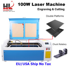HL 100W CO2 Laser Cutter Machine with RUIDA 6445 Autofocus 1000x600mm cutting slate ceramic Machine