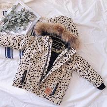 Boys Winter Coat Girl  Hooded Children Leopard Warm Jacket For Snowsuit Childrens Overall Boy