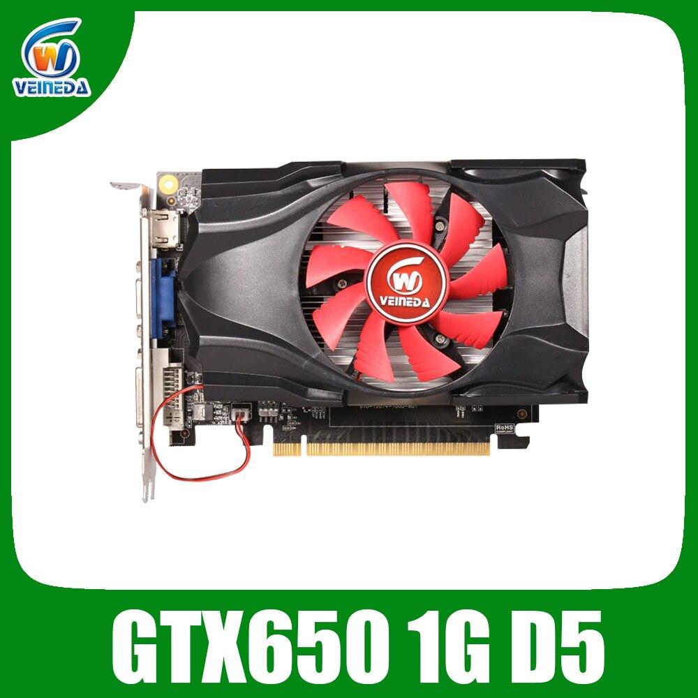 Veineda GTX650 GPU Video Card GTX650 1G 128Bit Gtx Graphics Vga Game Card 1059/5000MHz Stronger Than HD6570 For NVIDIA Gamings
