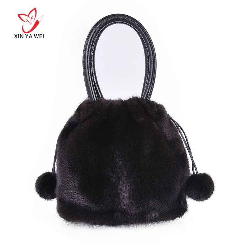 100% Natural Fur Women's Leather Bag, Crossbody Bag Made Of Mink, Natural Fur Women's Handbag, Envelope Bag, Leather Evening Bag