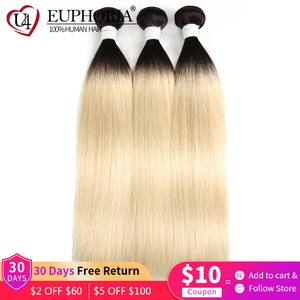 Image 2 - Cheveux péruviens droits blonds 1/3/4 pièces Ombre Blonde 1B 613 couleur Remy Extensions de tissage de cheveux humains pour les femmes euphorie