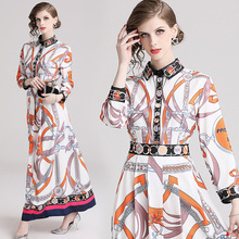 2020 New Summer Designer Chain Letter Floral Printed Runway Plaid Dress Women Lo