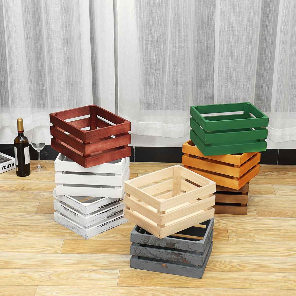 الخشب صندوق تخزين سمن رشاقته الفاكهة زينت مربع أشتات الحاويات منظم مستحضرات التجميل صندوق تخزين للمنزل زراعة 8 اللون