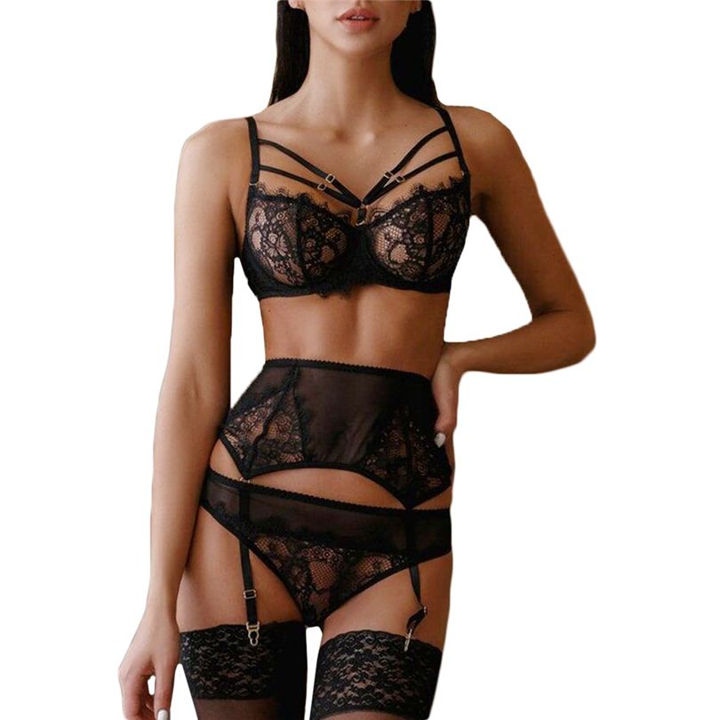 Women Lingerie Set Sexy Lace Underwire Bra Solid Bandage Black Lingerie Hollow Out Garter Women Underwear Lengerie Femenina J50