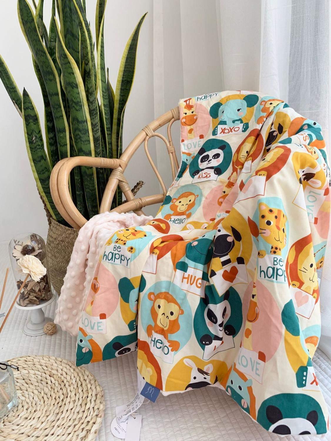 Baby Minky Baby Blanket Animal Thick Super Soft Flannel Blanket Newborn Toddler Stripped Swaddle Wrap Bedding Covers Bubbles