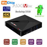 A5X MAX 4GB 32GB RK3318 Quad-Core Android 9,0 TV Box 100M 4K HD H.265 2,4G Wifi USB 3 reproductor de medios PK X96 mini TX3 mini H96.