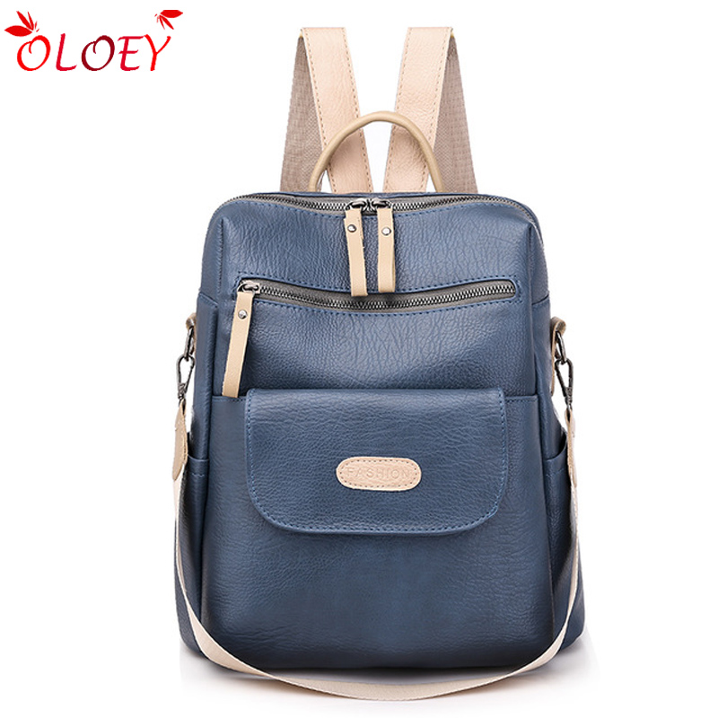 Fashion Brand Leather Backpack Women Travel Laptop Shoulder Bag Pack Large Capacity Teenage Girls College School Bags 2020 New