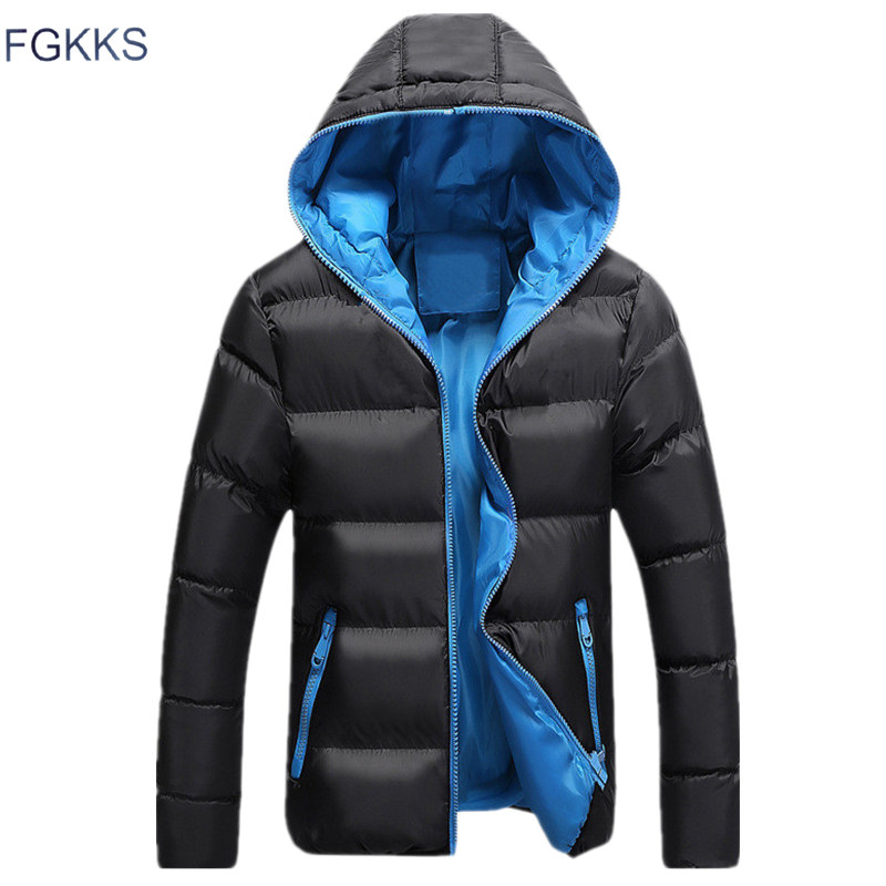 FGKKS Men Warm Parkas Winter Windproof Mountaineering Coat Male Solid Color Fashion Thick Hooded Comfortable Parka