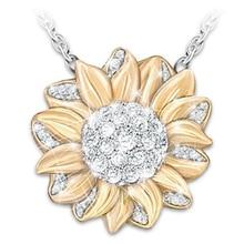 Популярное женское креативное золотое ожерелье с подсолнухом