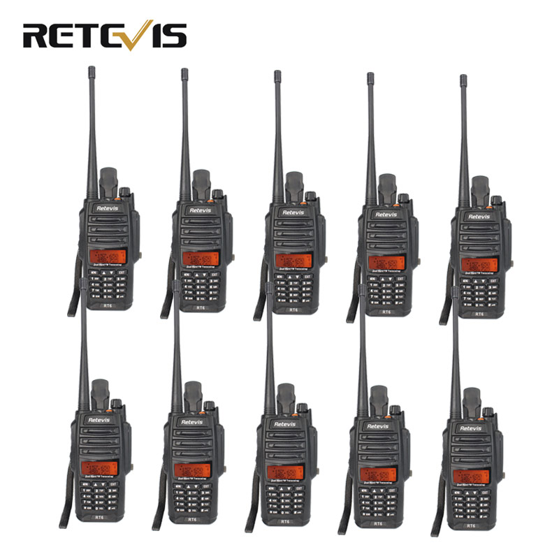 10pcs IP67 Waterproof Walkie Talkie Retevis RT6 VHF UHF Dual Band 5W 128CH 1800mAh Scan FM Professional Two Way Radio+Cable