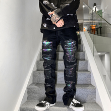 Washed Jeans Pants Men Denim Trousers Streetwear Ankle-Zipper Retro Plus-Size Harajuku