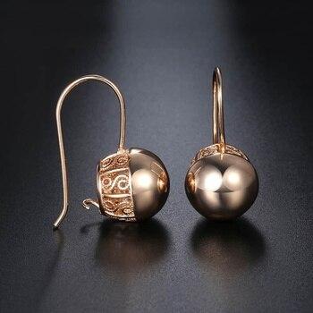 Davieslee okrągła kula damska dama stadniny kolczyki zatrzaskowe 585 różowe złoto wypełnione DGE66