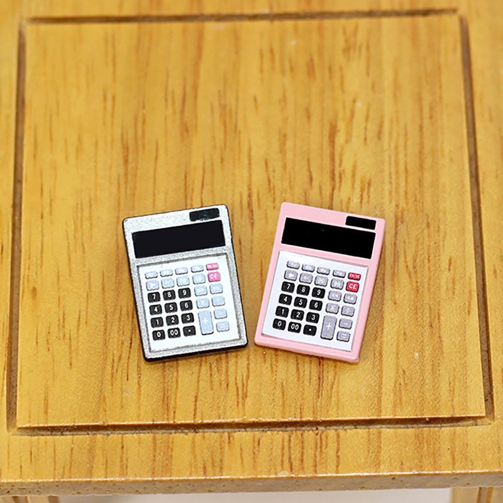 1Pcs 1/12 Dollhouse Miniature Accessories Mini Metal Electronic Calculator Simulation Furniture Computer Toys Doll House Decor