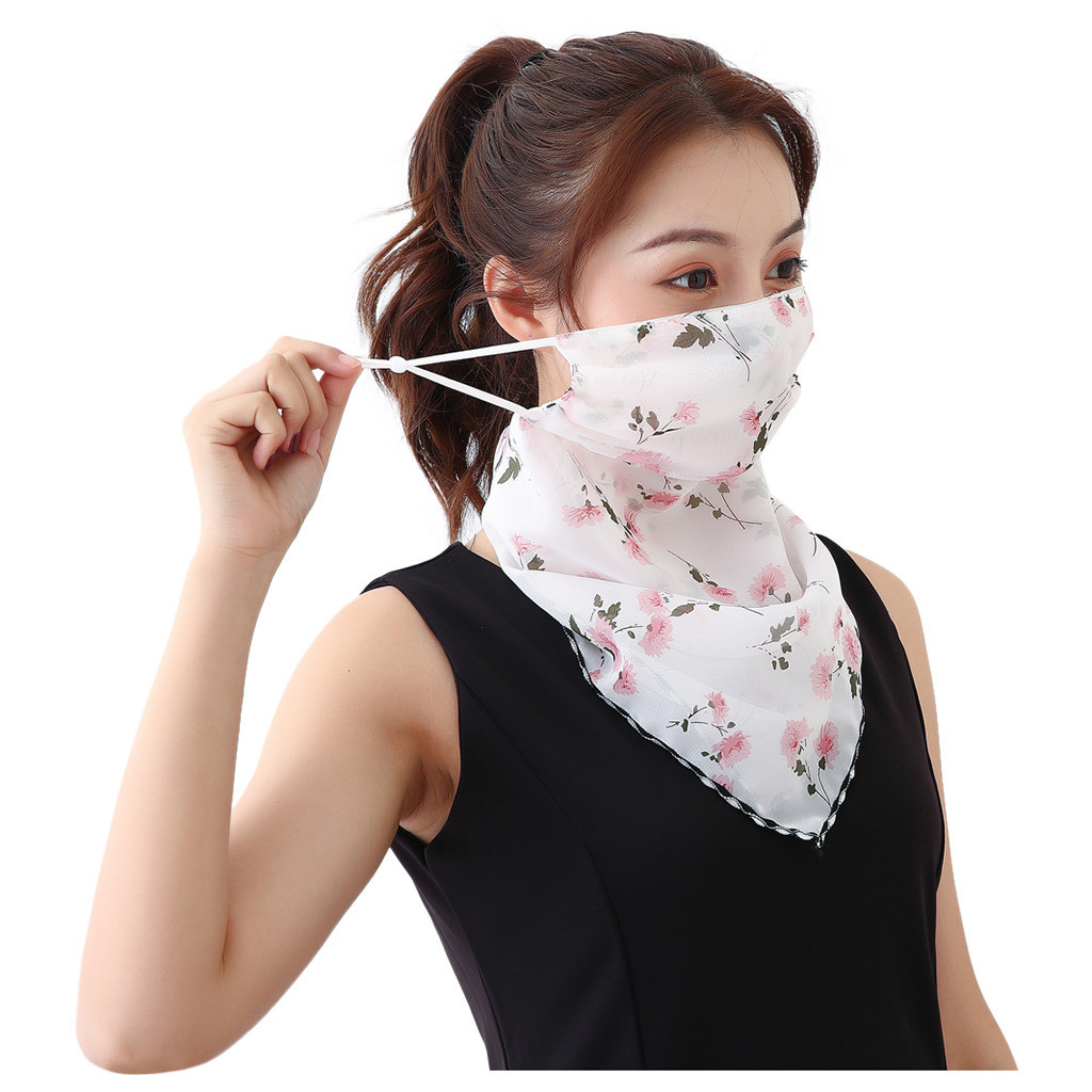 Women Girl Sun Protection Print Scarf Dustproof Neck Scarf Masks