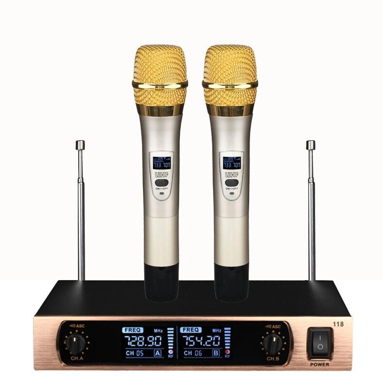 ERZHEN 282G professional wireless microphone system 2-channel handheld capacitor lavalier head-mounted mic family karaoke