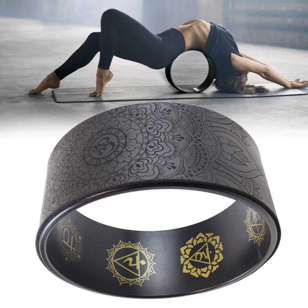Mandala Pattern Yoga Wheel Natural Cork Yoga Auxiliary Wheel Massage Wheel Back Bend Artifact Pilates Yoga Circle