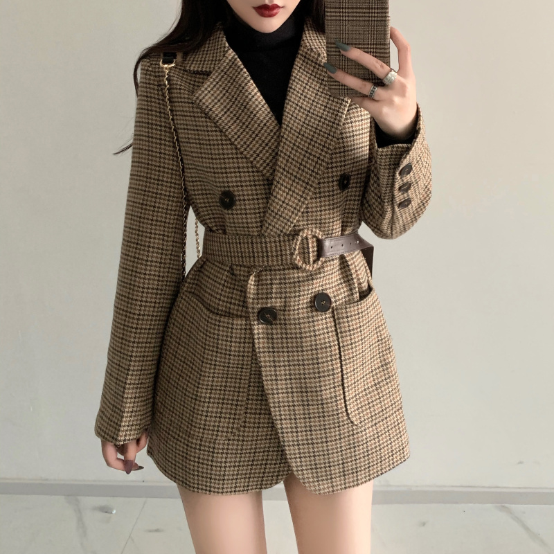 HziriP New 2020 Spring Autumn Women's Blazers Sashes Jackets Notched Outerwear England Style OL Vintage Plaid Blazer Woolen Coat