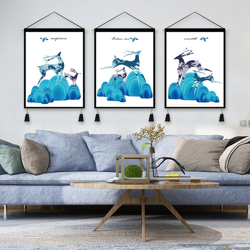 3Pcs Nordic Tapestry Simple Blue Tapestry Decorative Fabric Hanging Picture Bedside Decorative Hanging Fabric Decorative Tapestries     - title=