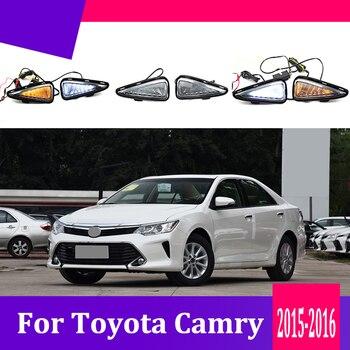 2pcs For Toyota Camry 2015-2017 LED Daytime Driving Running Light DRL Car Fog Lamp 6000K White Light Turn Yellow Light