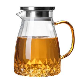 1000ML szklany dzbanek do wody o dużej pojemności dzbanek do herbaty z pokrywką do szkła do domu dzbanek na wodę dzbanek na herbatę do gorącej zimnej herbaty sok # W0 tanie i dobre opinie CN (pochodzenie) Cool Kettle Szkło Glass kettle high borosilicate glass 18*12cm Glass Pitcher