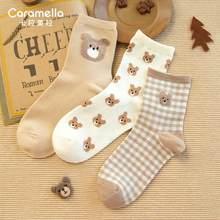 Caramella 2020 New Cartoon Animal Women Socks 3Pairs Cute Bear Girls Socks Funny Animal Party Women Socks Cotton Female Socks
