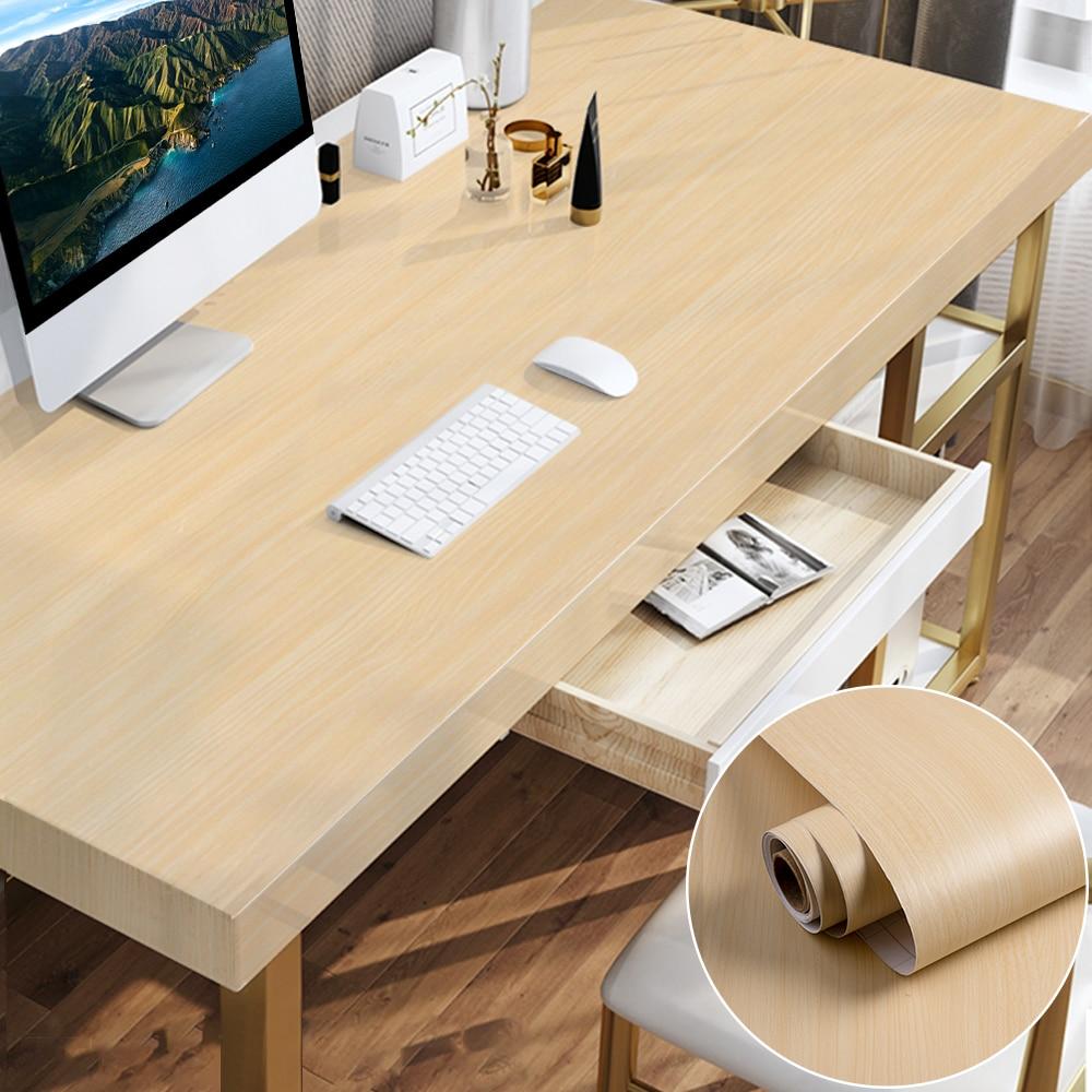 1/2M étanche bois vinyle Stickers muraux papier peint auto-adhésif papier portes armoire bureau moderne meubles autocollant décoratif
