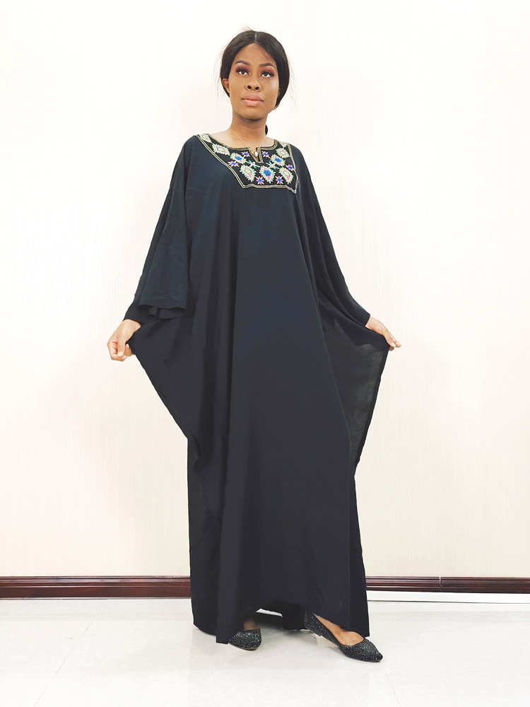 Arab Solid Floral Embroidery Elegant Abaya Muslim Women Plus Size Cotton Robe Dress