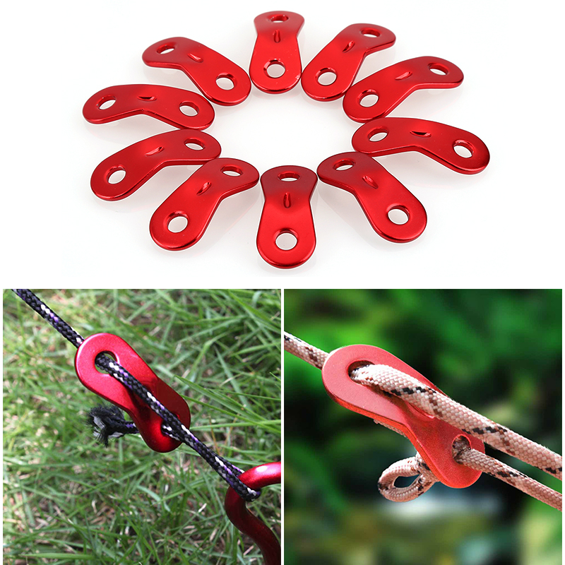 10pcs/set Outdoor Camping Tent Parachute Cord Rope Buckle Aluminum Alloy Cord Buckle Tensioners Fastener Travel Kit Tools