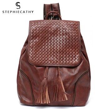 Mochilas Vintage de cuero italiano SC para mujer, bolsos de hombro con cordón de borla informales, bolsos con solapa, mochilas escolares de cuero grandes para mujer