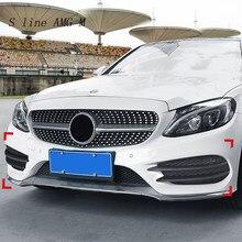 Estilo de fibra carbono para mercedes benz classe c w205 frente nevoeiro grill grille capas decorativas adesivos estilo do carro acessórios