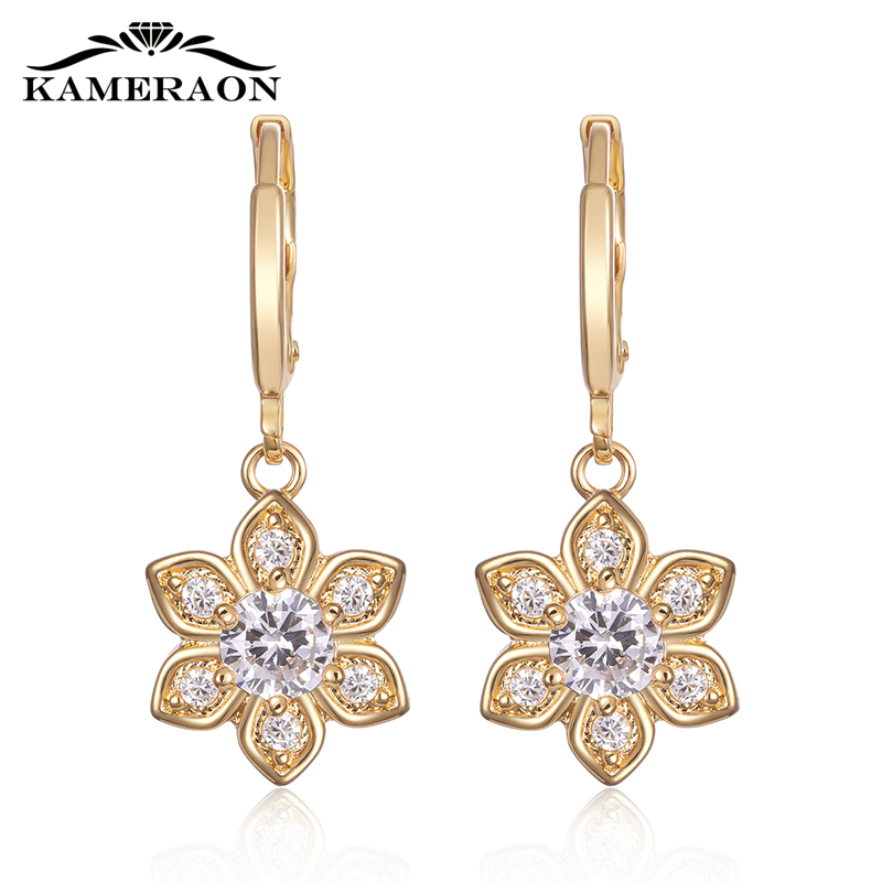 Kameraon Korean Style Earrings for Women 925 Sterling Silver Flowers Catkin With Stones Cubic Zirconia Crystal Jewelry Gold