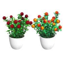 22cm x 9cm 1Pc Potted Artificial Plant Fruit Stage Garden Wedding Home Party Decor Props  Vivid Color