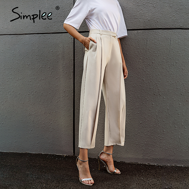 Solid High Waist Office Trousers 2