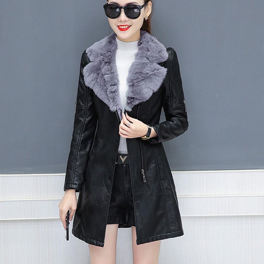 CHAMSGEND Autumn Winter Warm Fur Coat Women Leather Jacket Ladies Slim Moto Biker Basic Jackets Plush Casual Outerwear 1025