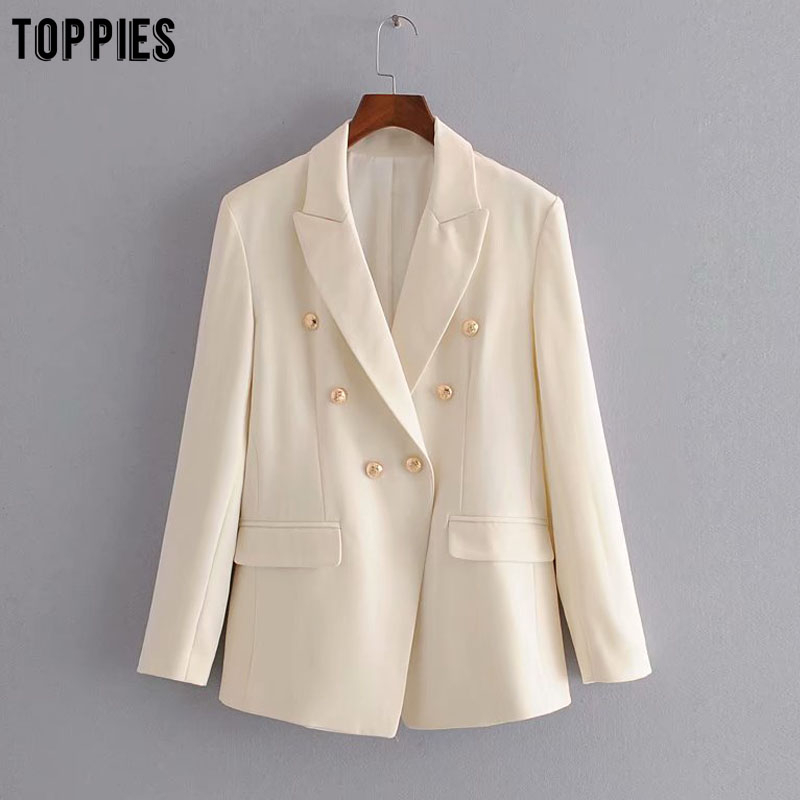 Toppies Women Blazer Jacket Golden Button White Suits Ladies Formal Blazers Notched Collar Coat