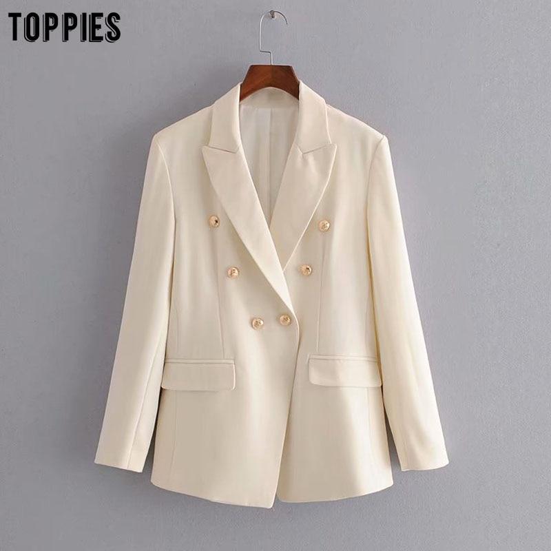 Toppies Women Blazer Jacket Golden Button White Suits Ladies Formal Blazers Notched Collar Coat