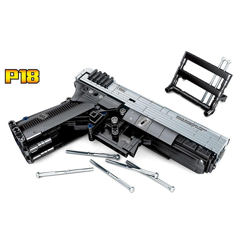 PUBG Game P18 Gun Technic MOC Gun Handgun Pistol Can Fire Bullets Set Building Blocks Bricks DIY Toys For Children Gift image