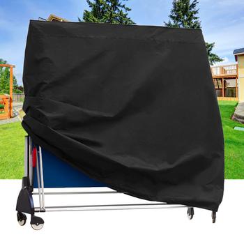Osłona przeciwpyłowa na stół czarny materiał na zasłony na zewnątrz kurz tenis stołowy na zewnątrz pyłoszczelna ogrodowa składana osłona na stół ping pong tanie i dobre opinie Oxford folding ping pong table cover