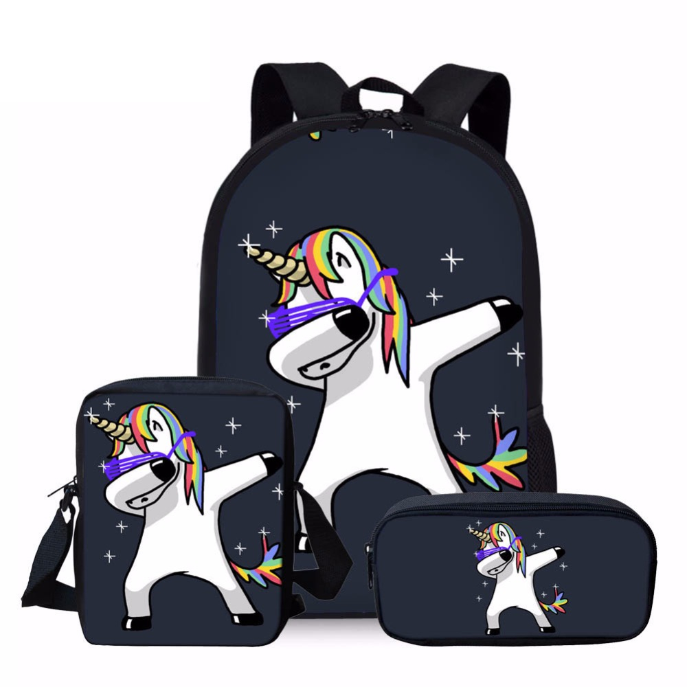 ELVISWORDS 3pcs/set Unicorn Horse Pattern School Bag Set for Boys Girls Backpacks Childrens Shoulder Bookbag Satchel
